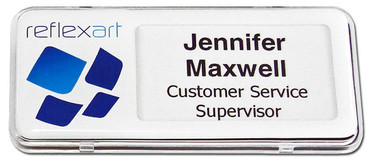 Reusable Name Badges - Clear border and white background | www.namebadgesinternational.us